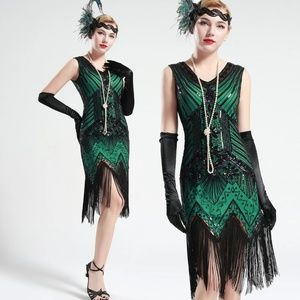 Black and Green glass beaded Fringe Flapper Dress